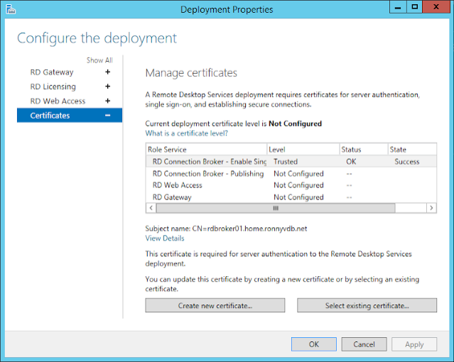 Windows 2012 R2 RDS – Configure RDS Certificates with own